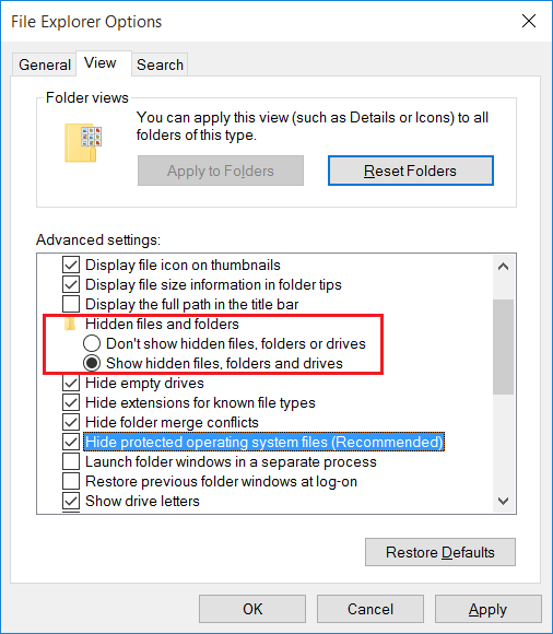 how to show hidden or system files in windows 10 3