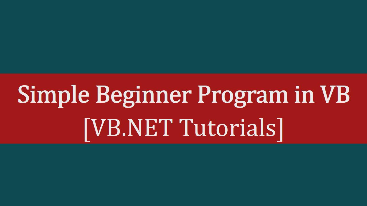 vb net tutorial for beginners pdf